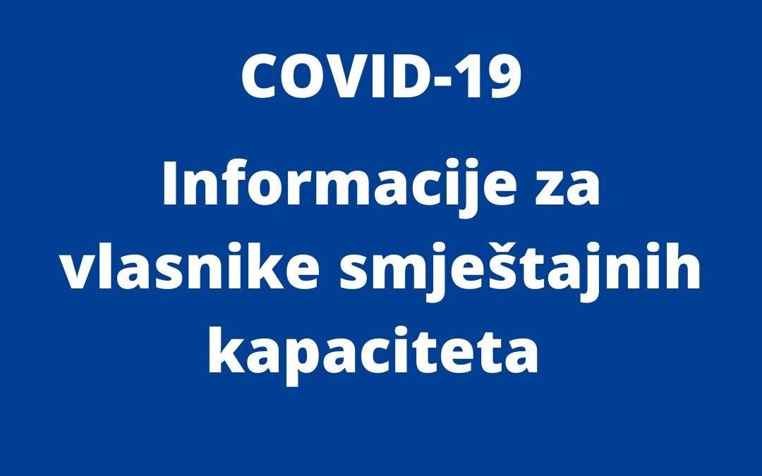 COVID-19 Informacije za vlasnike smještajnih kapaciteta